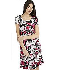 Roman Originals - Cerise all over print frill dress