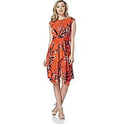 Roman Originals - Orange leaf print dress