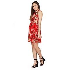 Tenki - Red floral print halter neck dress