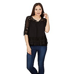 Apricot - Black lace embroidered shrug