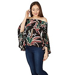 Izabel London - Black flowy sleeves multi print bardot top