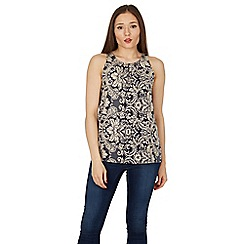 Izabel London - Navy abstract floral print top