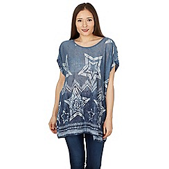 Izabel London - Blue star print casual smock top