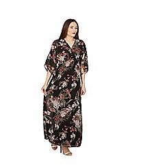 Apricot - Black oriental print kimono maxi dress