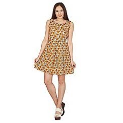 Tenki - Yellow sleeveless floral skater dress