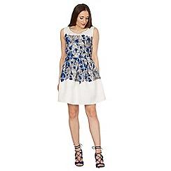 Tenki - White rose and line skater dress