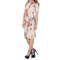 Feverfish - Peach bodycon Japanese print dress