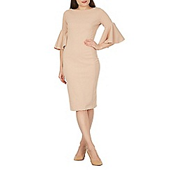 Feverfish - Beige flared sleeves bodycon dress