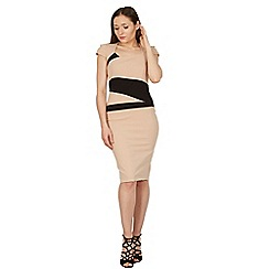 Feverfish - Beige contrast asymmetric scuba crepe dress