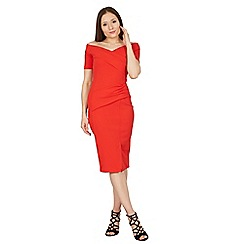 Feverfish - Red off shoulder scuba crepe dress