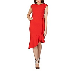 Feverfish - Red fluted hem asym bodycon dress
