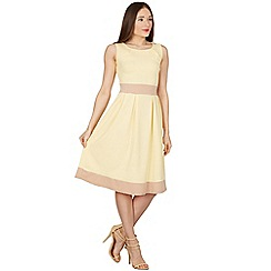 Feverfish - Yellow flared scuba crepe contrast dress
