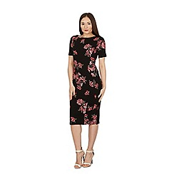 Feverfish - Black spaced rose flower bodycon dress