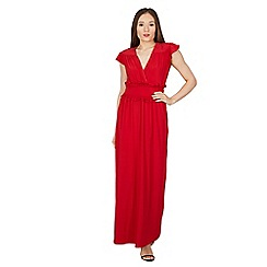 Feverfish - Red frill tie maxi dress