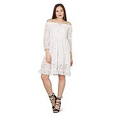 Blue Vanilla - White bardot lace front dress