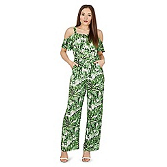 Blue Vanilla - Green tropical cold shoulder wide leg jumpsuit