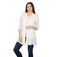 Izabel London - White 3/4 length sleeve open weave cardigan