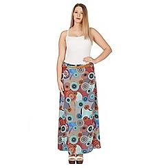 Samya - Blue belted multi print maxi skirt