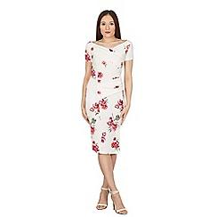Feverfish - Cream off shoulder flower print dress