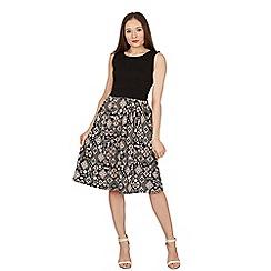 Feverfish - Black contrast print Aztec flare dress