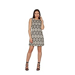 Izabel London - Black printed sleeveless lace dress