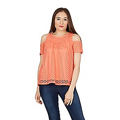 Stella Morgan - Orange cold shoulder lace top