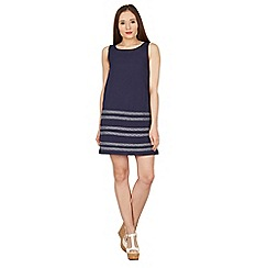 Apricot - Navy embroidered stripe shift dress