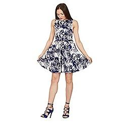 Apricot - Blue rose print skater dress