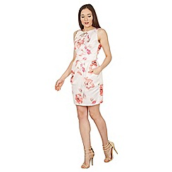 Apricot - Peach flowers print tulip dress