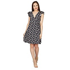 Apricot - Navy floral print wrap dress