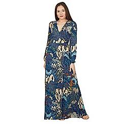 Blue Vanilla - Navy floral leaf print long sleeves wrap maxi dress