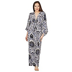 Blue Vanilla - Navy large paisley print kimono gather maxi dress