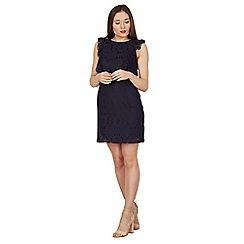 Blue Vanilla - Navy lace ruffle front dress