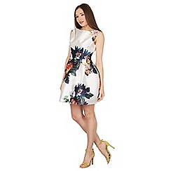 Blue Vanilla - Ivory floral sleeveless dress