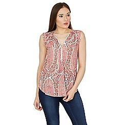 Izabel London - Multicoloured textured oversize zip sleeveless top
