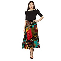 Izabel London - Multicoloured abstract print maxi skirt
