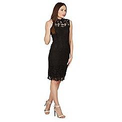 Izabel London - Black crochet overlay bodycon lace dress