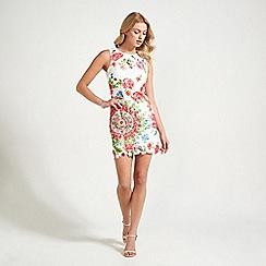 Apricot - White kaleidoscope floral print shift dress