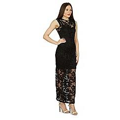 Izabel London - Black sleeveless overlace maxi dress