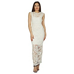 Izabel London - White sleeveless overlace maxi dress