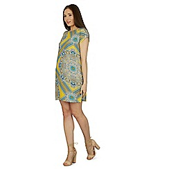 Izabel London - Yellow round neck aztec printed shift dress