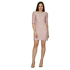 Izabel London - Pink jacquard print lace dress