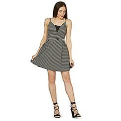 Izabel London - Black parallel stripe slip dress