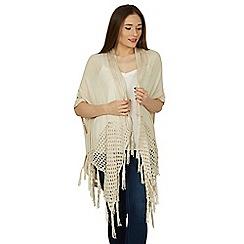 Izabel London - Beige kimono style knitwear cardigan