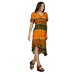 Izabel London - Orange tie dye swing dress