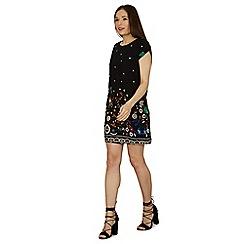 Izabel London - Black floral detailed shift dress