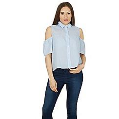 Izabel London - Blue cold shoulder pin stripe top