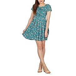 Tenki - Turquoise short sleeves floral dress