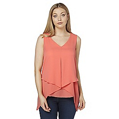 Roman Originals - Peach v-neck asymmetric hem top