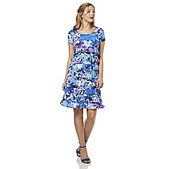 Roman Originals - Blue printed frill dress
